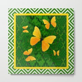 Western Style Yellow Butterflies Abstracted Green Pattern Metal Print