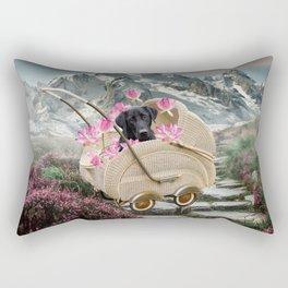 Labrador Retriever In Baby Carriage Mountain Landscape Rectangular Pillow