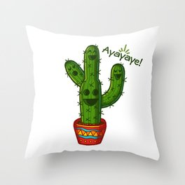 Ayayaye Cactus Quatuor Throw Pillow