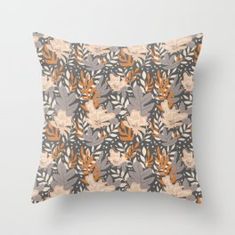 Topical Summer Day Pattern - Yellow Brown Throw Pillow