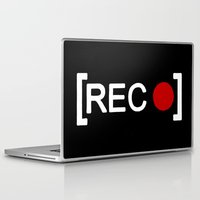 parks and rec Laptop & iPad Skins featuring Record button - [REC] by Alisa Galitsyna