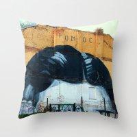 kafka Throw Pillows featuring Kafka´s head by dora-isa