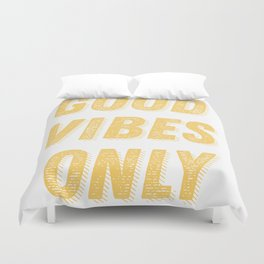Good Vibes Only Bold Typography in Yellow Duvet Cover