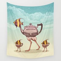 ostrich Wall Tapestries featuring The Teapostrish Family by Pepetto
