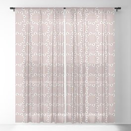 White Daisies Allover Style Seamless Pattern Sheer Curtain