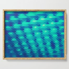 Modern Fashion Abstract Color Pattern in Blue / Green Serving Tray