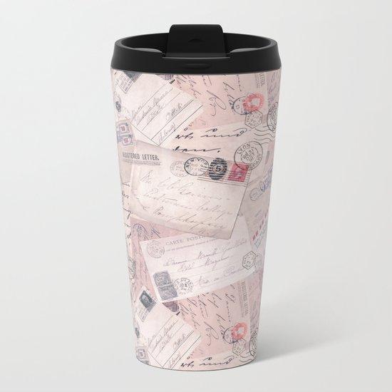Nostalgic Letters Collage Soft Pink Metal Travel Mug