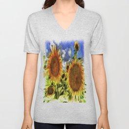 Sunflowers Vincent Van Goth Unisex V-Neck