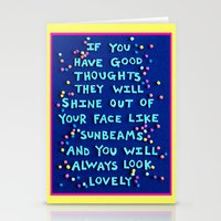 "roald dahl Stationery Cards featuring Roald Dahl ""If you have good thoughts they will shine out of your face like sunbeams..."" by Rachel Mayer Art"