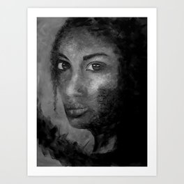 Courage by Lu, White and Black Art Print