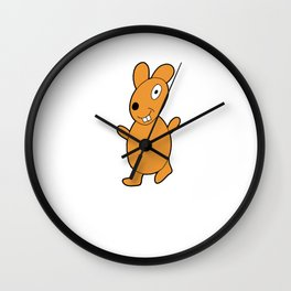 Funny and lovely rabbit drawing in color Wall Clock