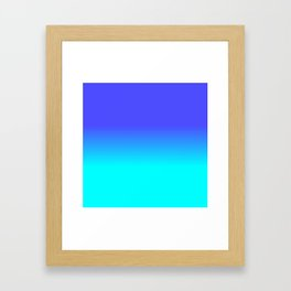 Neon Blue and Bright Neon Aqua Ombré Shade Color Fade Framed Art Print