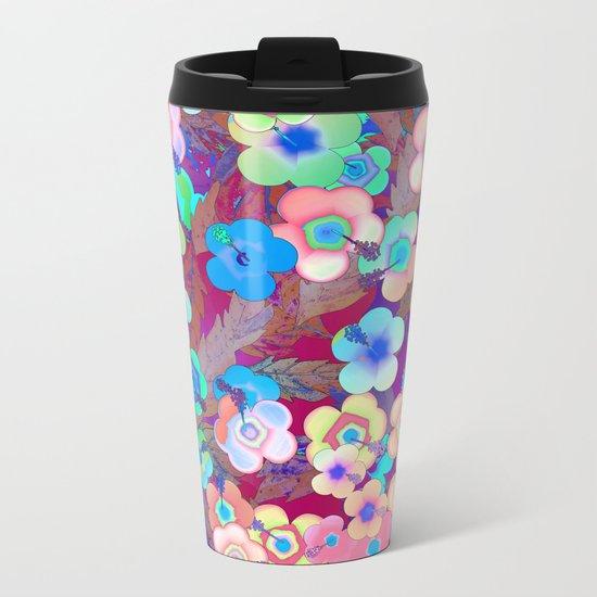 Hippie Hibiscus Metal Travel Mug