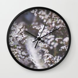 The Smallest White Flowers 01 Wall Clock