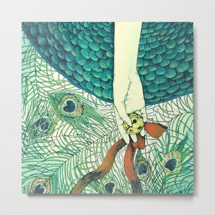 Golden bell and peacock feathers Metal Print