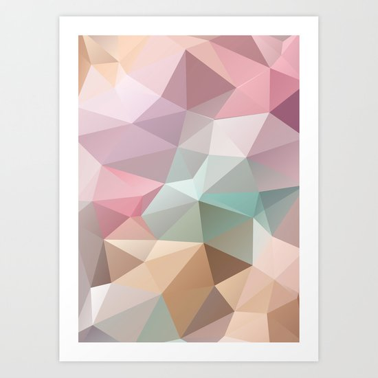 Abstract triangles polygonal pattern Art Print