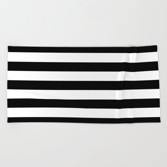Midnight Black and White Stripes Beach Towel