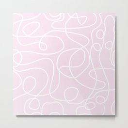 Doodle Line Art | White Lines on Palest Pink Metal Print