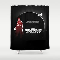 guardians of the galaxy Shower Curtains featuring Guardians of the Galaxy by Limited Motion