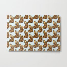sloth eating pizza pattern Metal Print