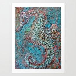 Seahorse in Glass Cradle Art Print