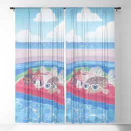 Cory cats in the swimming pool Sheer Curtain