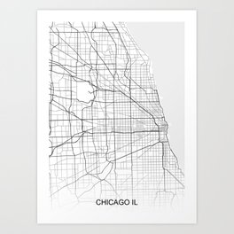 Chicago IL White Map Art Print