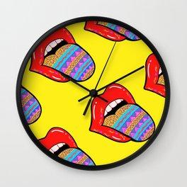 Lip popart pattern 2 Wall Clock