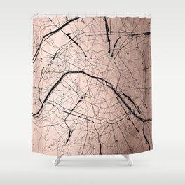 Paris France Minimal Street Map - Rose Gold Glitter on Black Shower Curtain