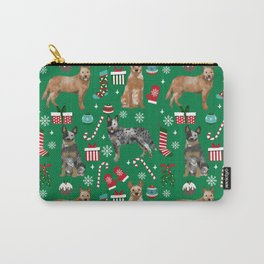 Austrian Cattle Dog red and blue merle christmas presents holiday dog breed pattern pet friendly Carry-All Pouch