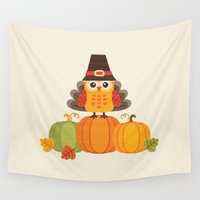 thanksgiving Wall Tapestries featuring THANKSGIVING OWL IN TURKEY COSTUME ON PUMPKINS by Daisy Beatrice