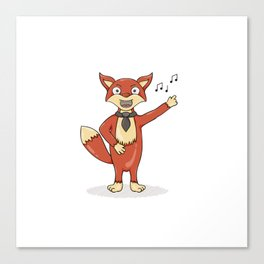 Red fox singing song with black tie. Canvas Print