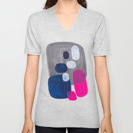 Mid Century Modern Minimalist Colorful Pop Art Grey Navy Blue Neon Pink Color Blobs Ovals Unisex V-Neck