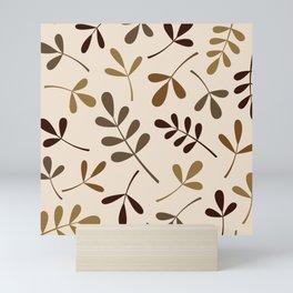 Assorted Leaf Silhouettes Gold Browns Cream Mini Art Print