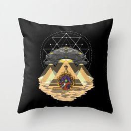 Alien Abduction Anunnaki Space Egyptian Pyramids Throw Pillow