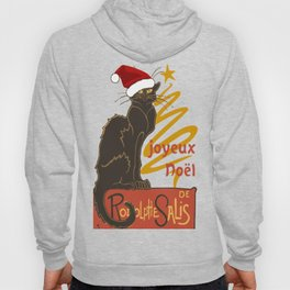 Joyeux Noel Le Chat Noir With Stylized Golden Tree Hoody