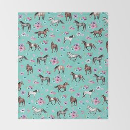 Hand drawn horses, Flower horses, Floral Pattern, Aqua Blue Throw Blanket
