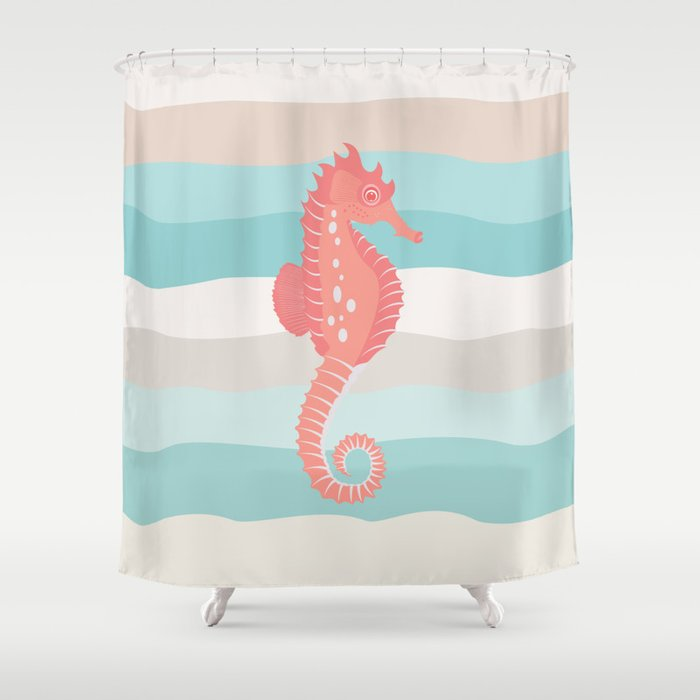 AFE Coral Seahorse Shower Curtain