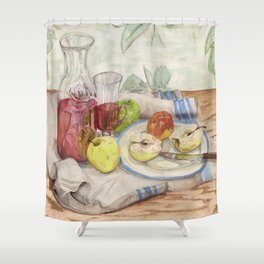 Still life of fruit and wine - Painting Shower Curtain