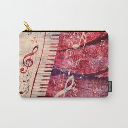 Illustration of a piano keys with musical notes and red rose Carry-All Pouch