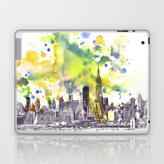 New York City Manhattan Cityscape Painting Laptop & iPad Skin