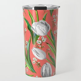 White Tulips + Babys Breath — Coral Travel Mug