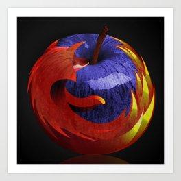 Mozilla Fire Apple Art Print