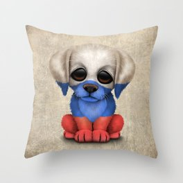 Cute Puppy Dog with flag of Russia Throw Pillow