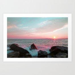 Pink and Blue Sunset Over Newport Rhode Island Art Print