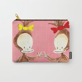 Two Baby Ape Girls on Pink Carry-All Pouch
