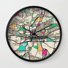 Colorful City Maps: Johannesburg, South Africa Wall Clock
