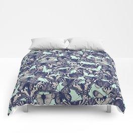 butterfly pale mint Comforters