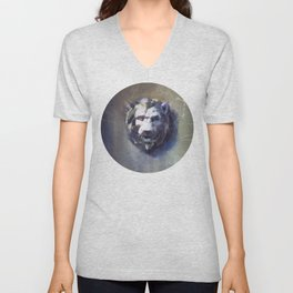 Lion head Black Marble Unisex V-Neck