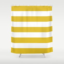 Durian Yellow - solid color - white stripes pattern Shower Curtain